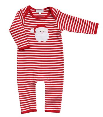 Magnolia Baby Boys / Girls Red Striped Santa Applique Playsuit