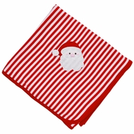 Magnolia Baby Boys / Girls Red Stripe Santa Applique Receiving Blanket