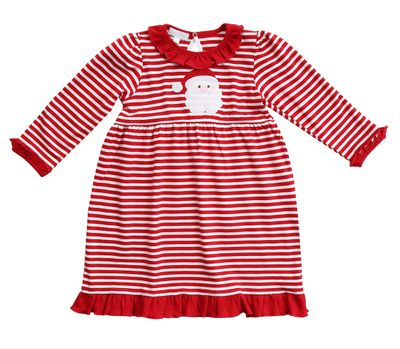 Magnolia Baby Little Girls Red Stripe Santa Applique Dress