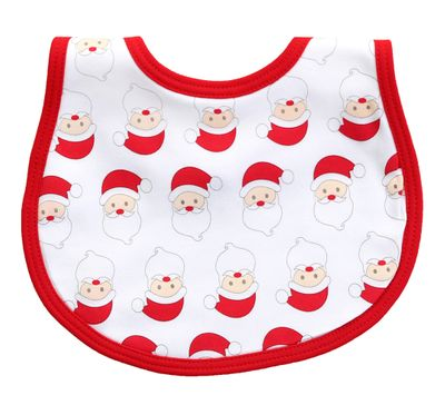 Magnolia Baby Boys / Girls Red Santa Faces Printed Bib