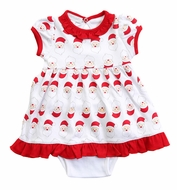 Magnolia Baby Girls Red Santa Faces Printed Dress Set