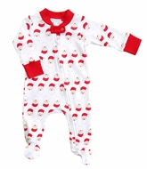 Magnolia Baby Boys / Girls Red Santa Printed Zipped Footie