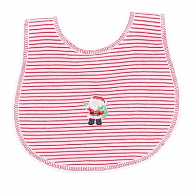 Magnolia Baby Girls / Boys Santa's Helper Embroidered Bib - Red Stripes