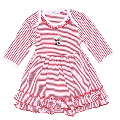 Magnolia Baby Girls Santa's Helper Embroidered Dress - Red Stripes