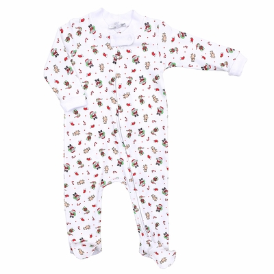 Magnolia Baby Boys / Girls Santa's Helper Zipped Footie - Santa Print