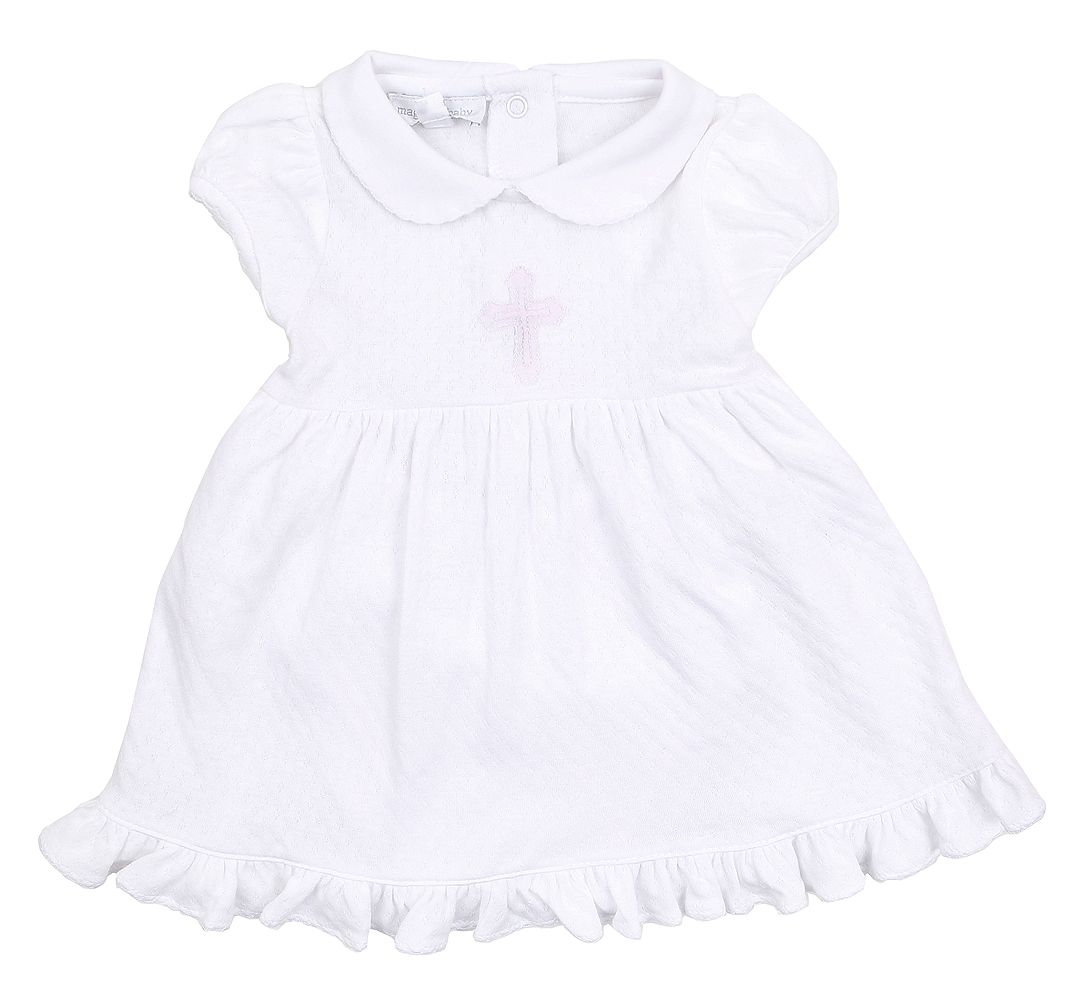 Magnolia Baby Baby Girl Blessed Baby Smocked Collared Dress Set Pink