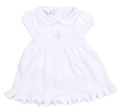 Magnolia Baby Girls White So Blessed Embroidered Cross Dress Set