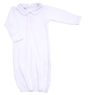 Magnolia Baby Boys / Girls White So Blessed Embroidered Cross Gown