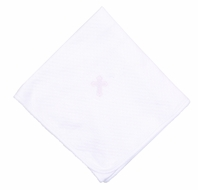Magnolia Baby Boys / Girls White So Blessed Embroidered Cross Receiving Blanket