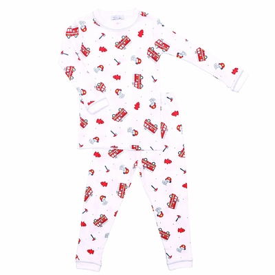 Magnolia Baby Little Boys Sound the Alarm Red Firetrucks Long Sleeve Pajamas