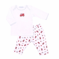 Magnolia Baby Boys Sound the Alarm Printed Red Firetrucks Pant Set