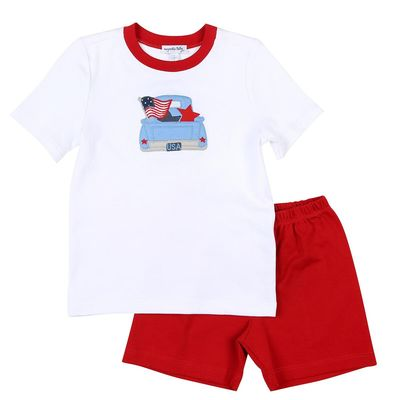 Magnolia Baby Little Boys Red Stars and Stripes Truck Applique Short Set