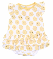 Magnolia Baby Girls Yellow Sunshine Printed Flutters Ruffle Bubble