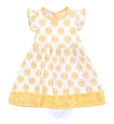 Magnolia Baby Girls Yellow Sunshine Printed Ruffle Dress Set