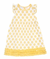 Magnolia Baby Little Girls Yellow Sunshine Printed Ruffle Dress