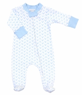 Magnolia Baby Boys Sweet Little Buck Printed Zipped Footie - Blue