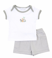 Magnolia Baby Boys Gray Sweet Safari Animals Short Set