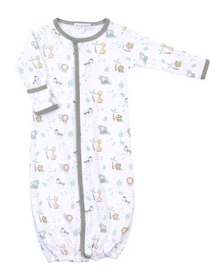 Magnolia Baby Boys Gray Sweet Safari Animals Printed Converter Gown