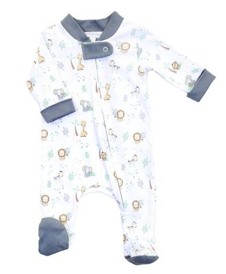 Magnolia Baby Boys Gray Sweet Safari Printed Zipped Footie