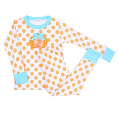 Magnolia Baby Little Girls Orange Dots Sweetest Pumpkin Applique Pajamas