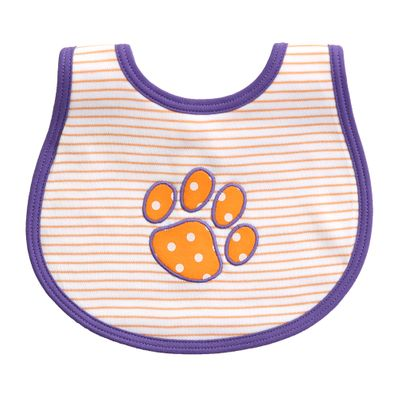Magnolia Baby Boys / Girls Orange / Purple Tigers Paw Bib