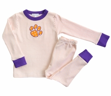 Magnolia Baby Little Boys / Girls Orange Tigers Paw Long Pajamas