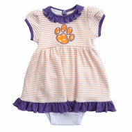 Magnolia Baby Girls Orange / Purple Tigers Paw Dress Set