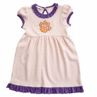 Magnolia Baby Little Girls Orange / Purple Tigers Paw Dress