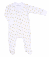 Magnolia Baby Girls / Boys Tiny Bee Printed Zipped Footie