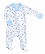 Magnolia Baby Boys Blue Tiny Choo Choo Printed Zipped Footie