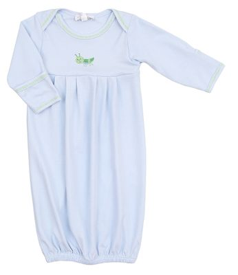 Magnolia Baby Boys Blue Tiny Grasshopper Pleated Gown