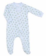 Magnolia Baby Boys Blue / Green Tiny Grasshopper Printed Zipped Footie