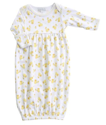 Magnolia Baby Boys / Girls Yellow Tiny Rubber Ducky Printed Gown