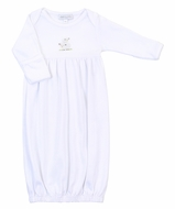 Magnolia Baby Boys / Girls White Tiny Sheep Gathered Gown