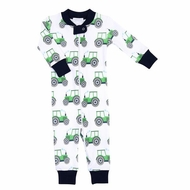 Magnolia Baby / Toddler Boys Navy Blue / Green Tractor Zipped Pajamas