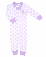 Magnolia Baby / Toddler Girls Purple Dot Unicorn Applique Zipped Pajamas
