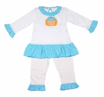 Magnolia Baby Toddler Girls Sweetest Pumpkin Applique Ruffle Pant Set