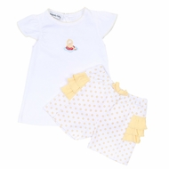 Magnolia Baby Toddler Girls Yellow Duck Fun in the Sun Embroidered Ruffle Short Set