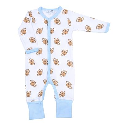 Magnolia Baby Boys Blue Football Cookies Touchdown Printed Playsuit