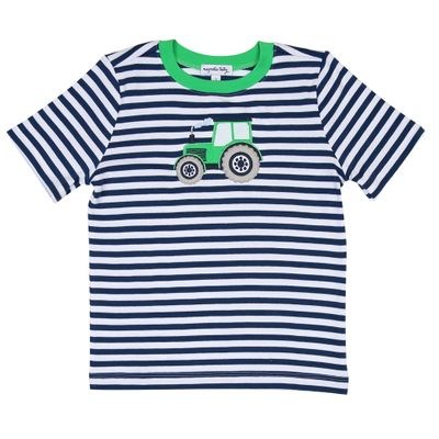 Magnolia Baby Little Boys Navy Blue Striped Tractor Applique T-Shirt