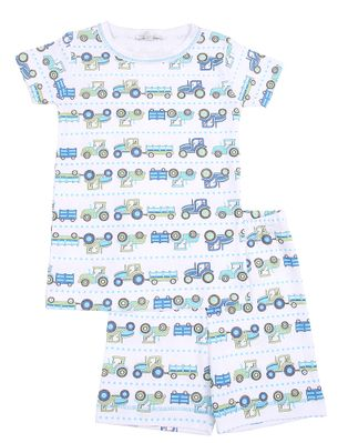 Magnolia Baby Little Boys Blue / Green Tractor Time Short Pajamas