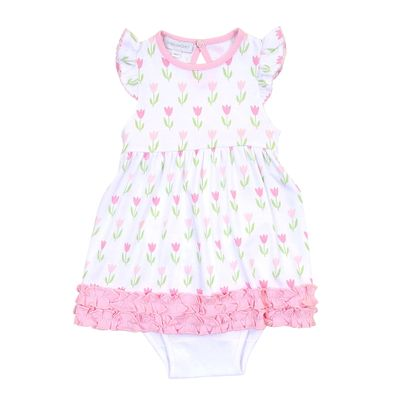 Magnolia Baby Girls Pink Spring Tulips Ruffle Dress Set