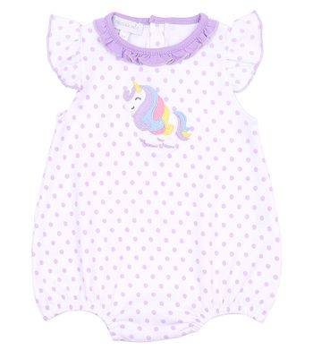 Magnolia Baby Girls Purple Dots Unicorn Applique Bubble