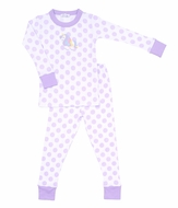 Magnolia Baby Little Girls Purple Dots Unicorn Applique Long Pajamas