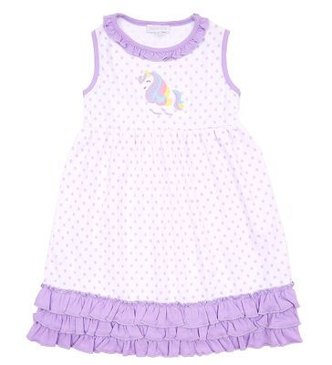 Magnolia Baby Girls Purple Dots Unicorn Applique Ruffle Dress Set