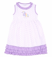 Magnolia Baby Little Girls Purple Dots Unicorn Applique Ruffle Sleeveless Dress