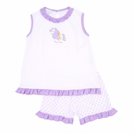 Magnolia Baby Little Girls Purple Dot Unicorn Applique Ruffle Short Set