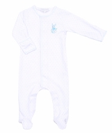 Magnolia Baby Boys Vintage Easter Bunny Embroidered Footie - Blue