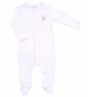 Magnolia Baby Girls Vintage Easter Bunny Embroidered Ruffle Footie - Pink