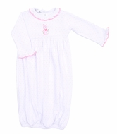 Magnolia Baby Girls Vintage Easter Bunny Embroidered Ruffle Gown - Pink
